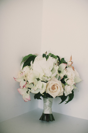 Cream and Blush Bouquet With Greenery