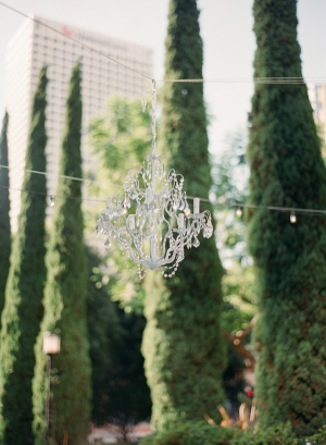 Crystal Chandelier at Outdoor Reception