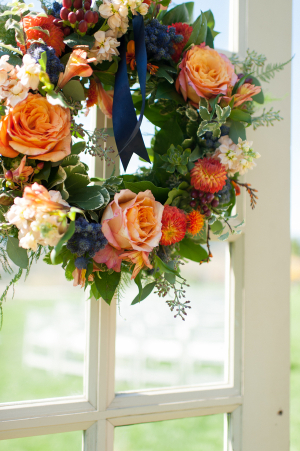 Fall Floral Wreath in Wedding Decor