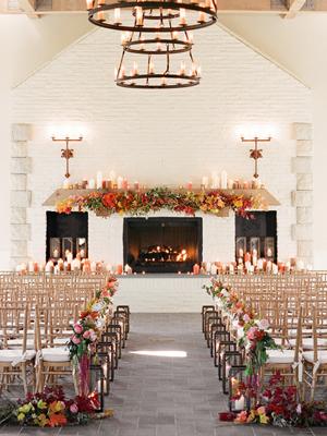 Fall Indoor Wedding Ceremony