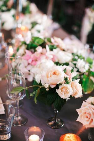 Flowers in Vintage Vases Reception Decor