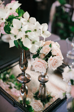 Flowers in Vintage Vases on Mirrored Tray