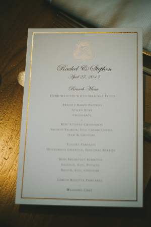 Gold Embossed Reception Menu
