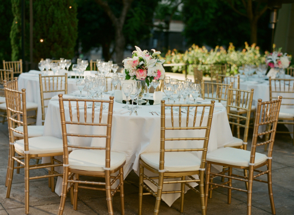 Gold and Pink Outdoor Reception