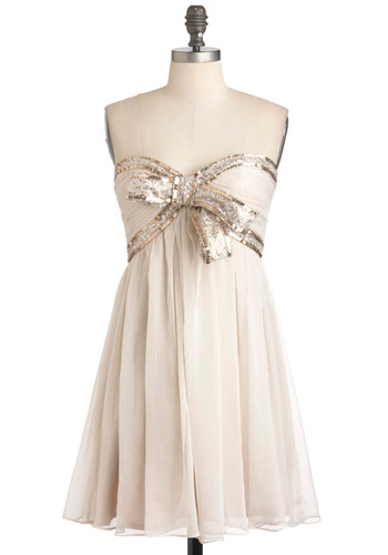 Gold and White Sparkle Bridesmaids Dress