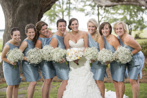 Gray Blue One Shoulder Bridesmaids Dresses