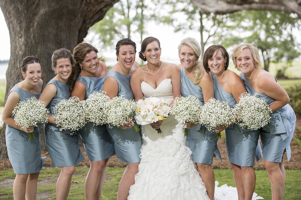 Gray Blue One Shoulder Bridesmaids Dresses