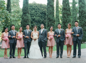 Gray Pink Bridal Party
