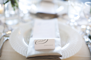 Gray White Wedding Place Setting
