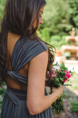 Gray Wrap Bridesmaids Dress