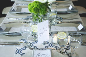 Gray and Navy Reception Decor Details