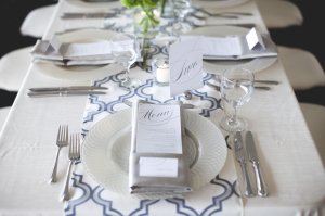 Gray and Navy Trellis Print Linens