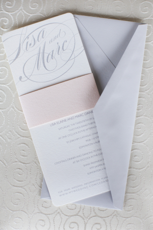 Gray and Pale Pink Wedding Invitation