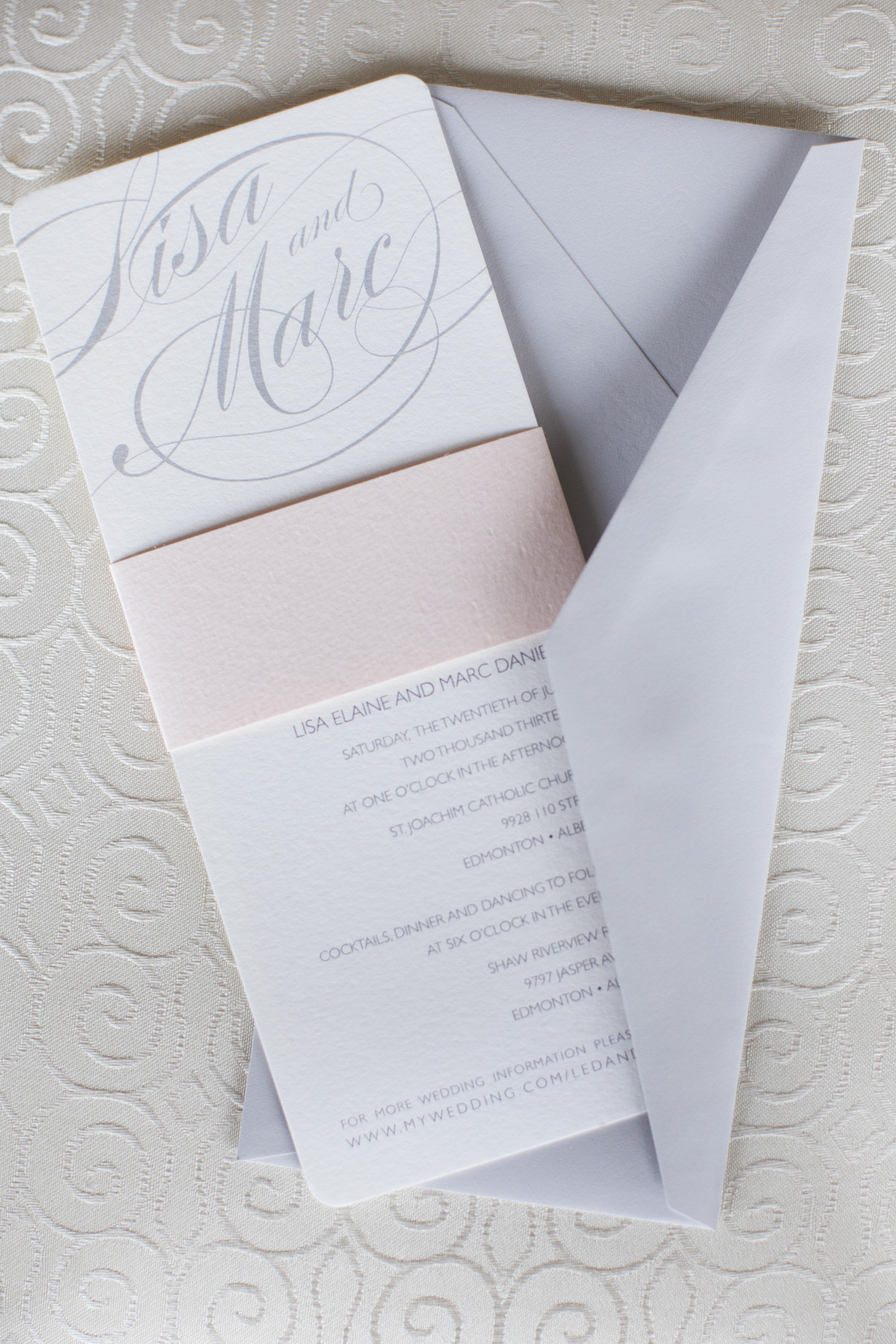 Gray and Pale Pink Wedding Invitation - Elizabeth Anne Designs ...