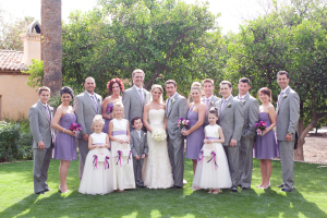 Gray and Purple Bridal Party