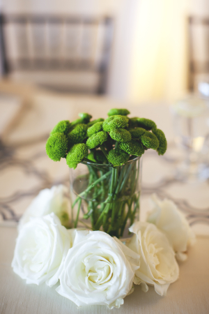 Green Button Mums With White Roses Arrangement