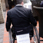 Groom in Wheelchair Just Married Sign