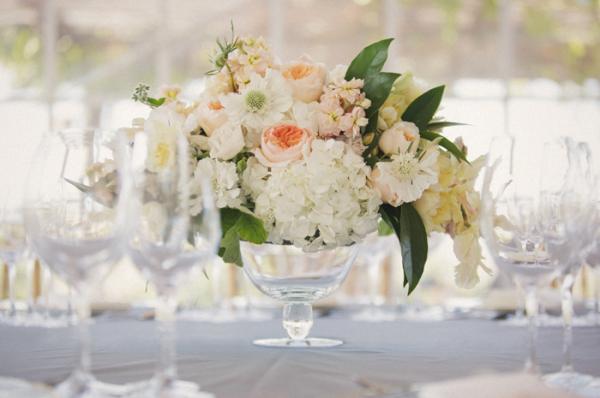 Hydrangea and Garden Rose Centerpiece