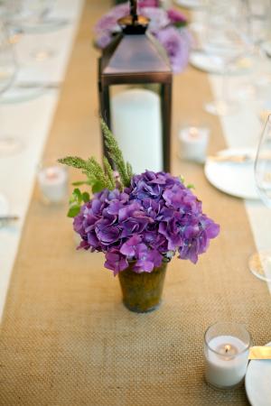 Lavender Hydrangea Bloom on Burlap