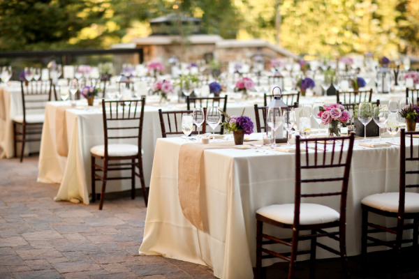 Lavender and Pink Florals Outdoor Reception Decor