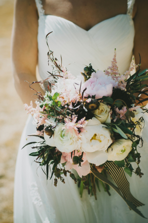 Loose Bridal Bouquet With Striped Ribbon