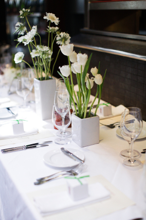 Modern White Florals Reception Decor