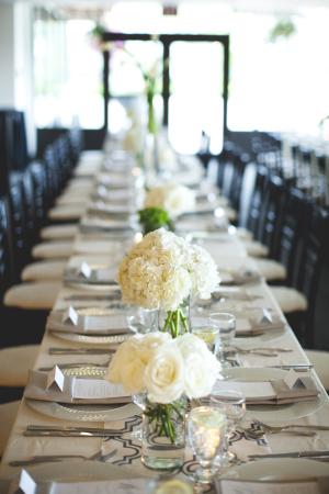 Modern White Green Reception