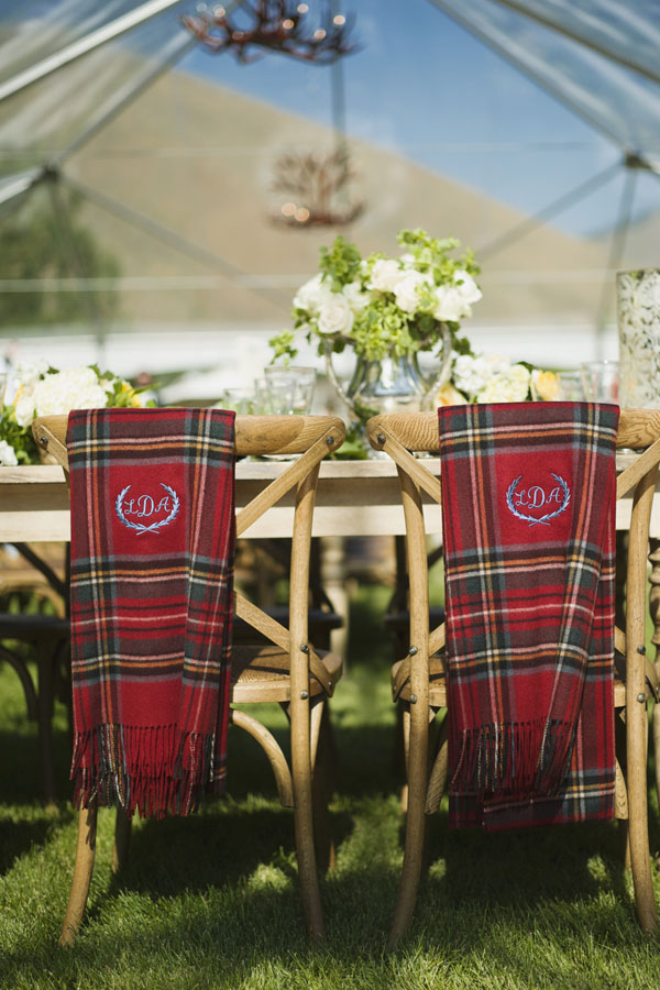 Monogrammed Plaid Blankets