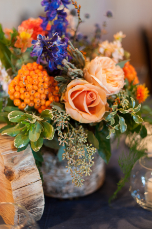 Orange and Green Floral Decor at Reception