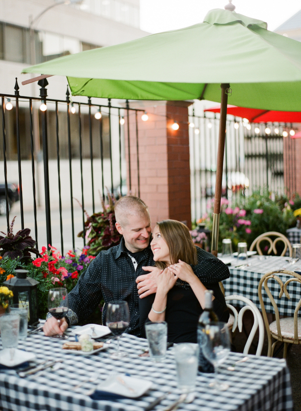 Outdoor Cafe Engagement Session