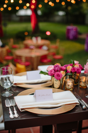 Outdoor Wedding Table with Gold Charger