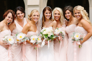 Pale Pink Strapless Bridesmaids Dresses