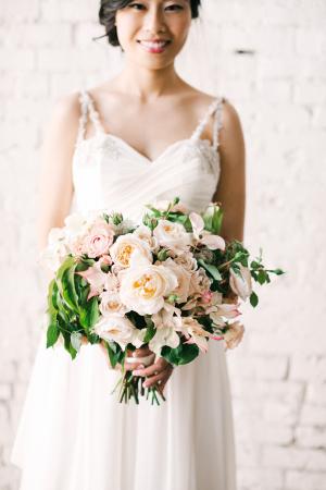 Peach and Blush Rose Bridal Bouquet