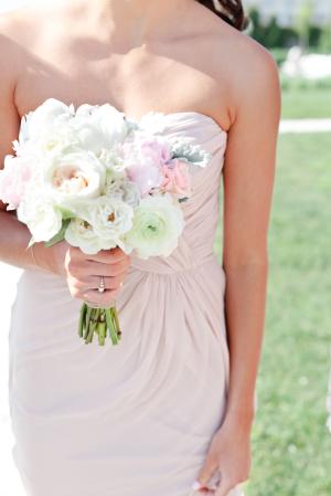 Pink Bridesmaids Dress White Bouquet