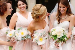 Pink Bridesmaids with Fluffy Bouquets