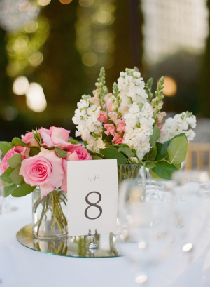 Pink Cream and Green Reception Flowers