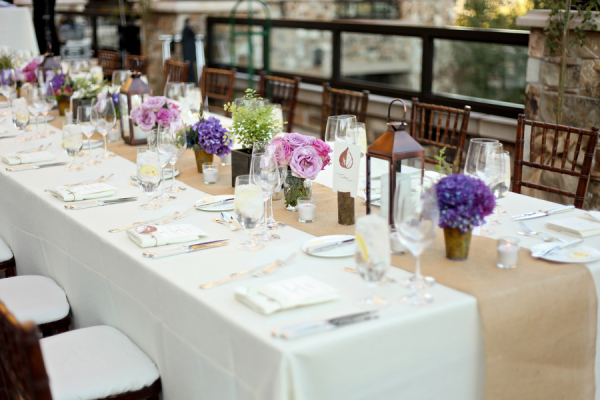 Pink Lavender and Burlap Reception Decor