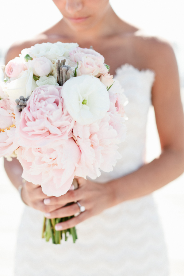Pink Peony and White Bridal Bouquet