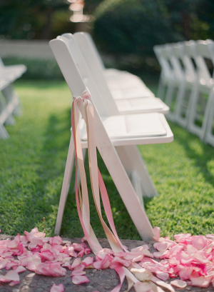 Pink Rose Petals and Streamers Ceremony Decor