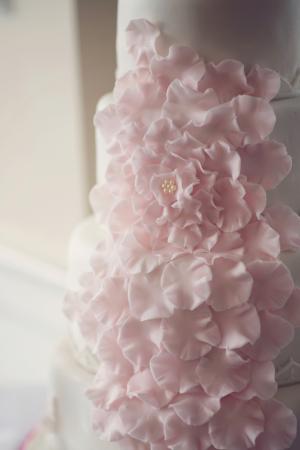 Pink Sugar Flower Petals on Wedding Cake