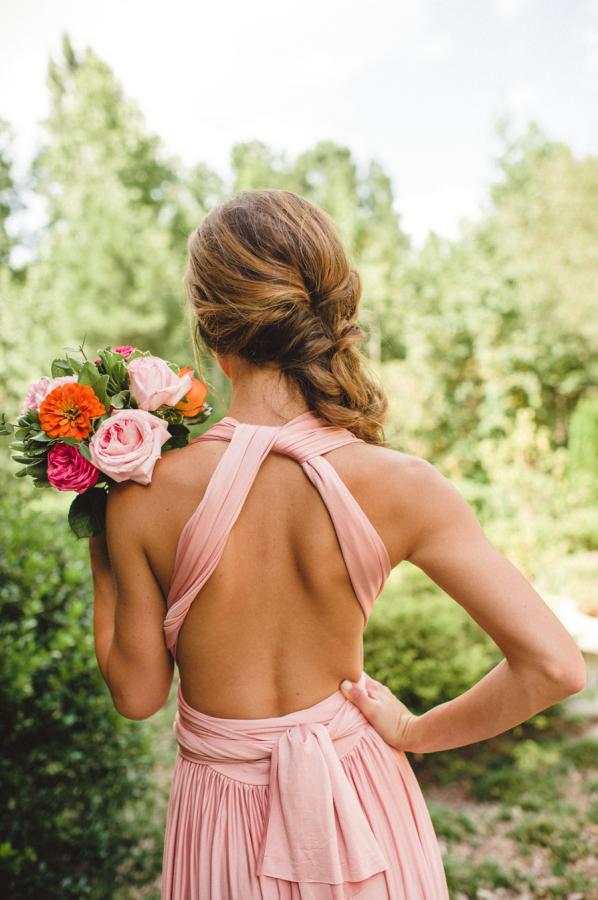 Pink Wrap Bridesmaids Dress