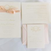 Pink and Gold Embossed Wedding Stationery
