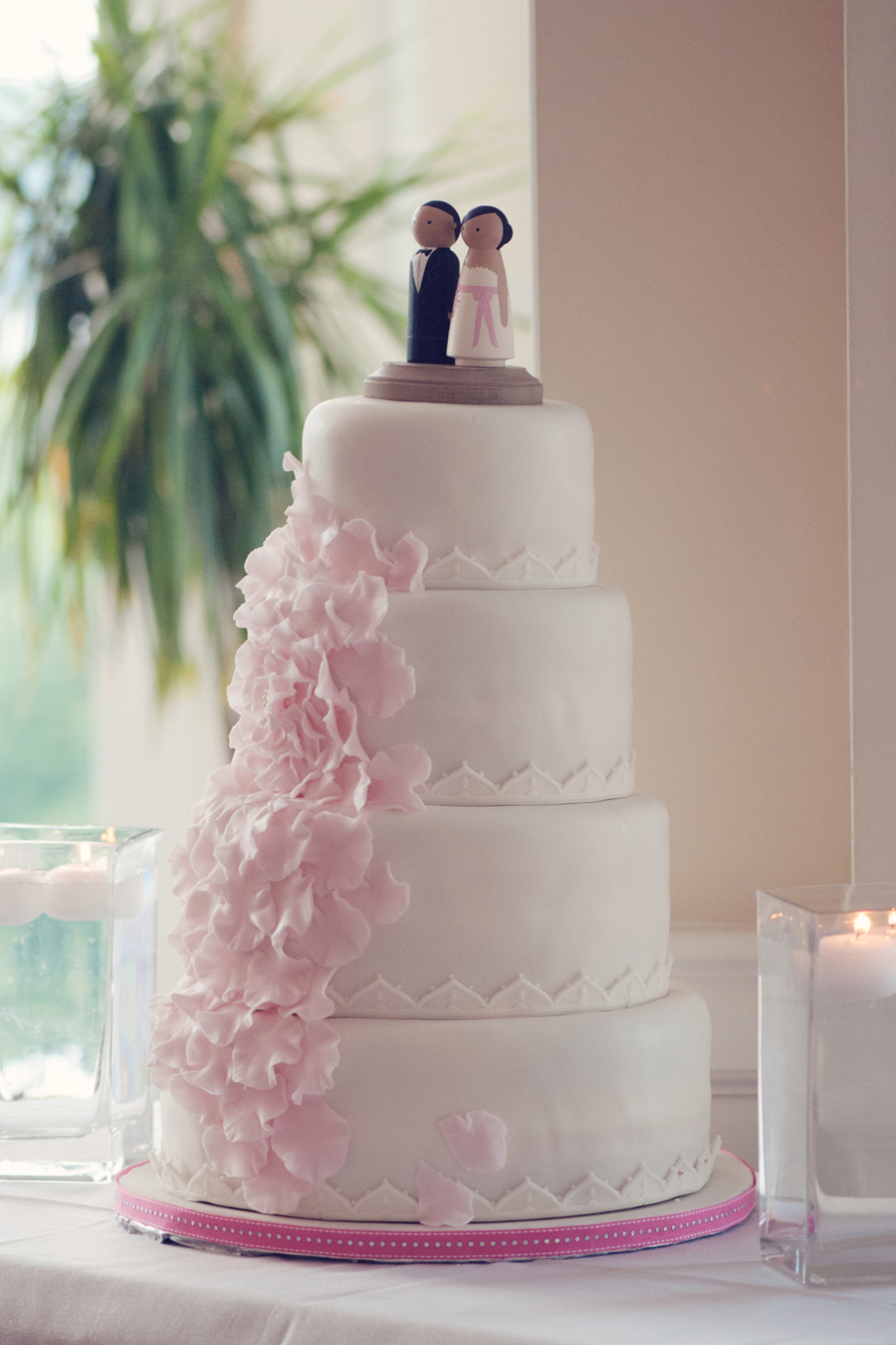 Pink And White Fondant Wedding Cake Elizabeth Anne
