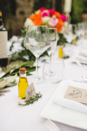 Place Setting with Olive Oil Favor