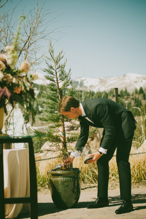 Sand Ceremony During Outdoor Wedding