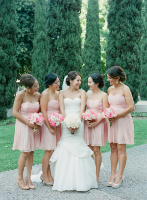 Short Light Pink Bridesmaids Dresses