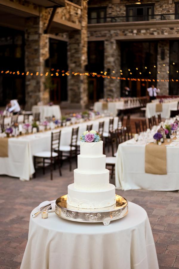 Simple Wedding Cake with Purple Flowers
