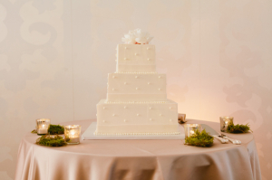 Square Wedding Cake With Polka Dots