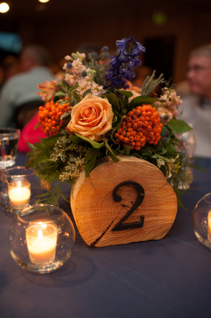 Stamped Bark Reception Table Numbers