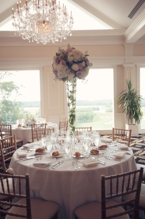 Tall Pink White and Green Reception Centerpiece